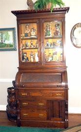 "Antique Barrel-Top Secretary With Glass Doors, Lower Storage, 85.5""H x 38.5""W x 22.75""D"