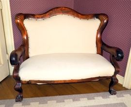 """Empire Antique Lion Paw Foot Love Seat / Sofa 44""""H x 54""""W, Nail Head Accents"""