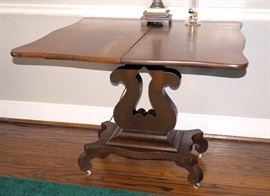 """Lyre Style Card / Sofa / Side Table With Dropleaf Top, Original Casters, 28""""H x 36""""W x 36""""D"""