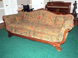 Ornately Carved Swan Sofa, Wood Edge, Trim & Detail