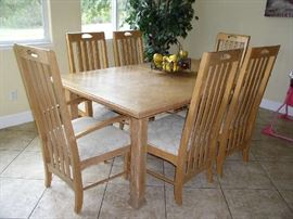 Kitchen dining table and chairs with leaf