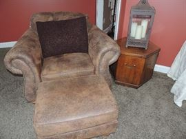 ultra suede chair with ottoman