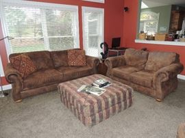 Broyhill ultra suede  sofa with love seat and chair with ottoman, fabric ottoman, Raymore & Flannigan.