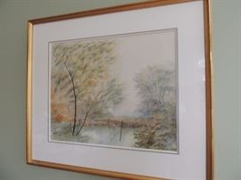 water color by artist Rives, purchased in Paris
