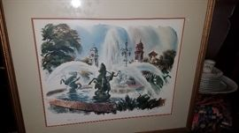 """Kansas City Plaza Water Fountain"" watercolor artist proof J.R. Hamil"
