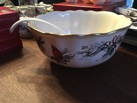Rare Winter Greetings Punch Bowl