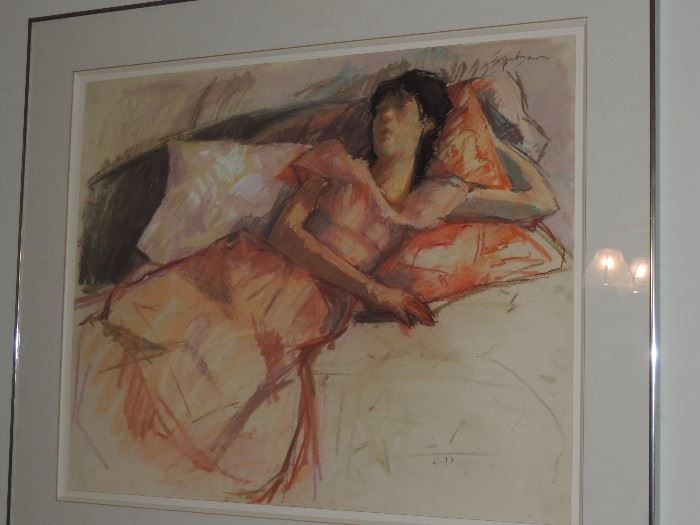 """Authentic Chalk Drawing by Richard Segalman """"Girl in Pink Dress"""" Signed Upper Right / original gallery labels on verso - from estate collection of original owner,"""
