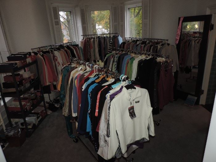 Overview of the CLOTHING ROOM ... please respect the TIME IT TOOK TO ORGANIZE THIS ROOM... over 400 GARMENTS IN THIS ROOM ALONE ... an assistant  will be ON HAND IN THIS ROOM ALL WEEKEND