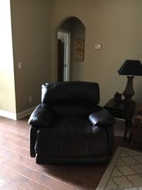 Large Overstuffed Leather Electric Recliner