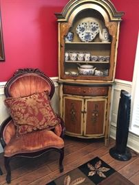Beautiful Corner Cabinet............Lots of Blue & White  Dish ware.....Victorian Chair in Great Condition