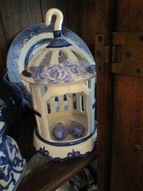 Blue & white birdhouse