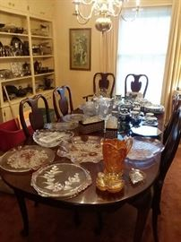 Beautiful Queen Anne style cherry table topped with amazing crystal serving pieces
