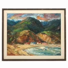 "Eric Gibberd Oil Painting on Board ""Malibu"": An oil painting on board titled Malibu by listed artist Eric Gibberd (American, 1872 – 1972), dated 1950. The work depicts a Hawaiian beach scene with a row of buildings dwarfed by hills. Signed and dated to the lower left corner. Signed and titled by the artist to the verso. Additional gallery and descriptive labels are present to the verso. Housed in a wood frame with a linen liner. Gibberd was known for his modernist style landscape paintings and woodcuts."