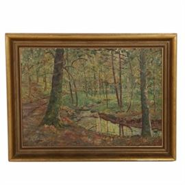R. Tillwetz Oil Painting on Board of Woodland Scene: An oil painting on board of a woodland scene by R. Tillwetz. With impasto textures, the work depicts a woodland scene in muted greens. Inscribed with the artist's signature to the lower left corner. Housed in a gilt and wood frame.