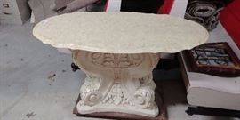 Ornate Plaster and Marble Table