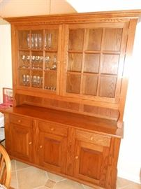 solid oak large china hutch