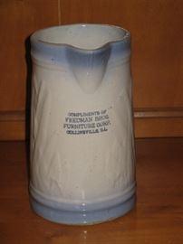 Collinsville  Fredman Bros. Furniture Stoneware Blue & White Pitcher Advertising Water Pitcher