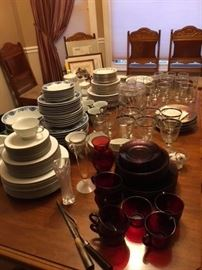 5 sets of dishes and 5 different sets of glassware, A lot of interesting glassware and serving items.