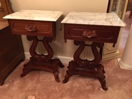 Marble Topped Harp style end tables.  Appears to be rosewood.