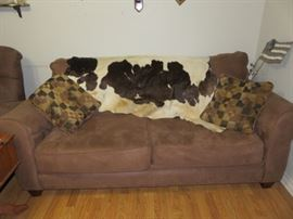 Nice Ultra Suede Couch and Cowhide