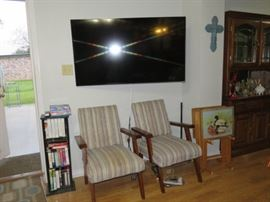 "60"" Flat Screen TV - Pair Arm Chairs"