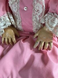 Antique C. M . Bergmann Simon & Halbig 13-1/2 Doll Detail