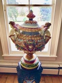 Huge Capodimonte Covered Urn