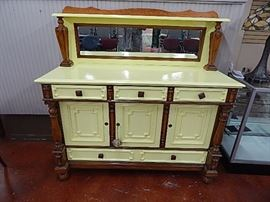 Antique Oak Accent Painted Sideboard