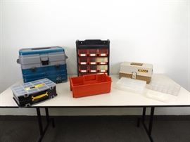 Lot of Plastic Tool Boxes, and Organizers