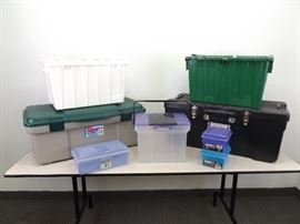 Lot of Large, Medium, and Small Plastic Storage Bins
