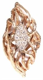 14 Kt Gold and Diamond Dinner Ring