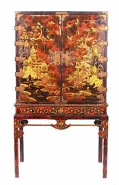 18th C. Antique Chinoiserie Court Cabinet