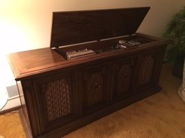 vintage console stereo cabinet with turntable