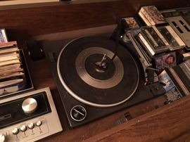 vintage turntable in console