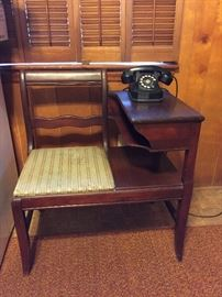 Antique Telephone Table and Rotary Dial Phone