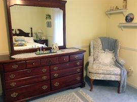 Mahogany Dresser and Upholstered chair