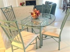 4 chairs w/glass top table