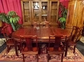7 PC CHINESE ROSEWOOD DINING TABLE WITH 6 CHAIRS