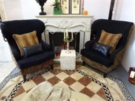 PAIR NEIMAN MARCUS WING CHAIRS