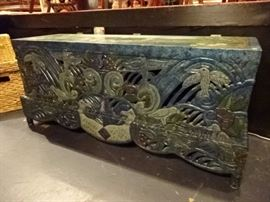 ELABORATELY CARVED AND PAINTED CHEST, SIGNED BY ARTIST