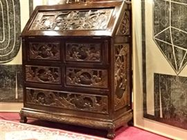 CHINESE CARVED WOOD SECRETARY DESK