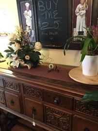 Vintage antique carved sideboard.  Set of sideboard, China cabinet, table and 6 chairs with cushions and leaves to expand table length.   See other pictures.