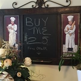 Chefs' chalk menu announcement board