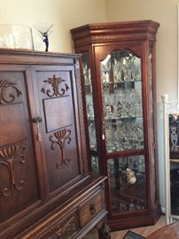 Left:  China carved cabinet.  Part of dining suite.
