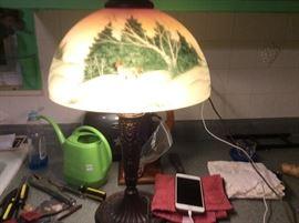 Unique antique signed reverse painted lamp