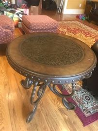 #3	Metal w/leather top round end table  26x25	 $120.00