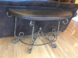 #4	sofa table Metal w/leather top  48x18x33	 $175.00