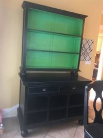 #7	Black Painted Distressed Buffet Cabinet 2 pcs. 49x25x36T As Is	 $400.00