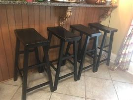"#10	(4) Black Wood Bar Stools 29"" Tall  Each $30"