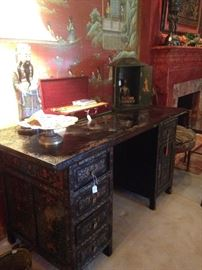 Incredible hand-painted Asian themed desk